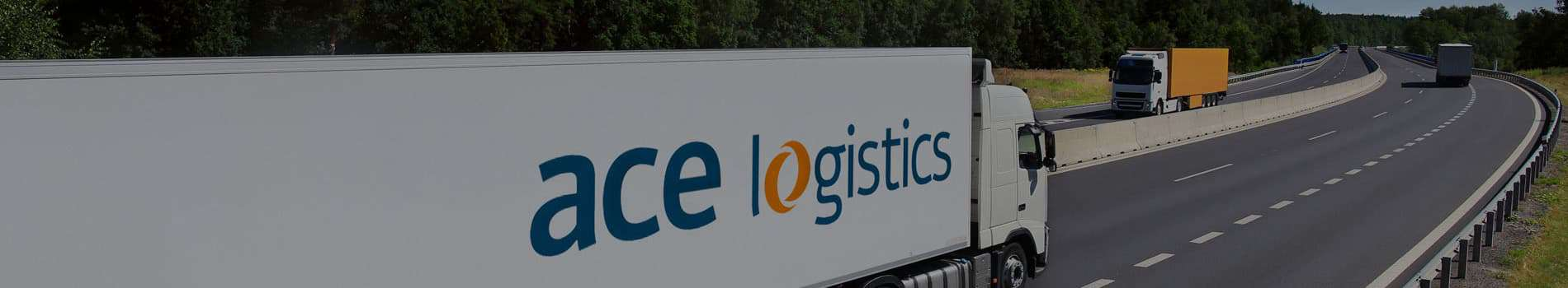 Header image for ACE road transport. Truck with ACE logo on a road.